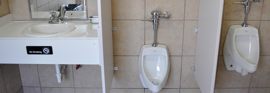 commercial  men's bathroom installation