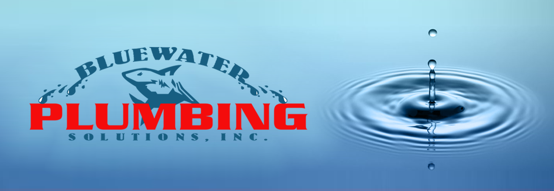 Bluewater Plumbng Solutions logo on water droplet